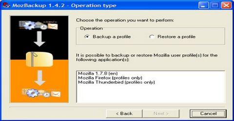 Backup di Firefox Thunderbird e Altri Programmi Mozilla