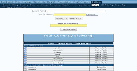 WordPress  Gestione FTP da Bacheca